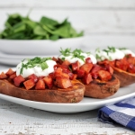Baked Sweet Potatoes with Chorizo and Sour Cream