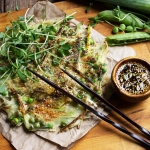 Green Pea and Leek Asian-Style Pancake with Spicy Soy Dipping Sauce