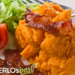 Maple Mashed Sweet Potatoes with Bacon