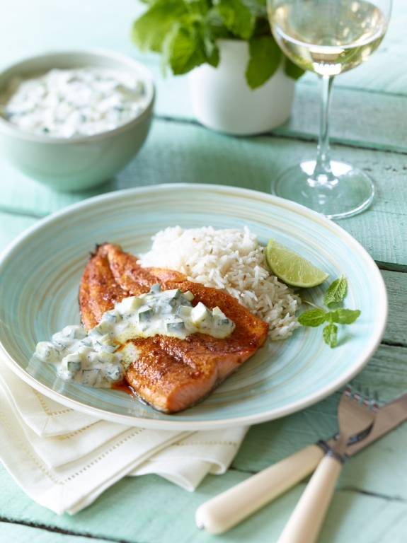 Indian Spiced Trout with Cucumber Raita