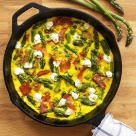 Asparagus, Prosciutto and Goat Cheese Frittata on Produce Made Simple