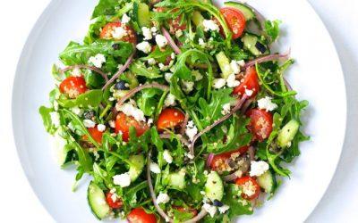 Arugula Greek Salad with Quinoa