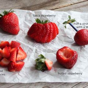 different ways to cut strawberries