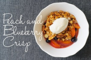 Peach and Blueberry crisp with ice cream