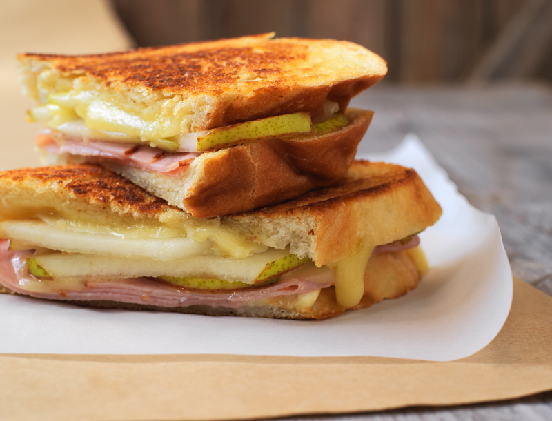 Grilled ham, cheese and pear panini