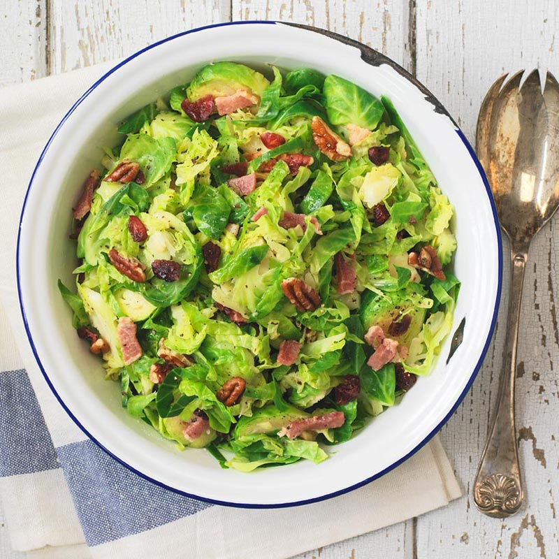 Shredded Brussels Sprouts with Bacon, Pecans and Dried Cranberries