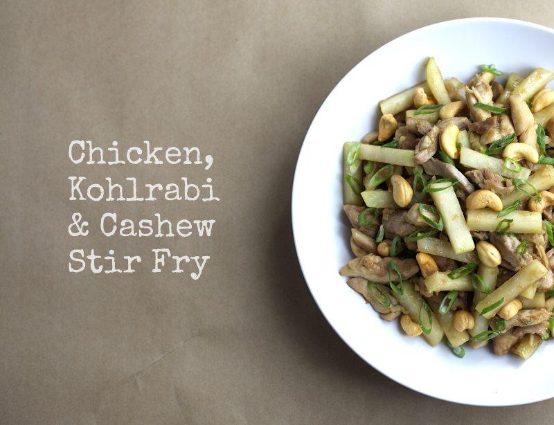 Chicken, Kohlrabi and Cashew Stir Fry