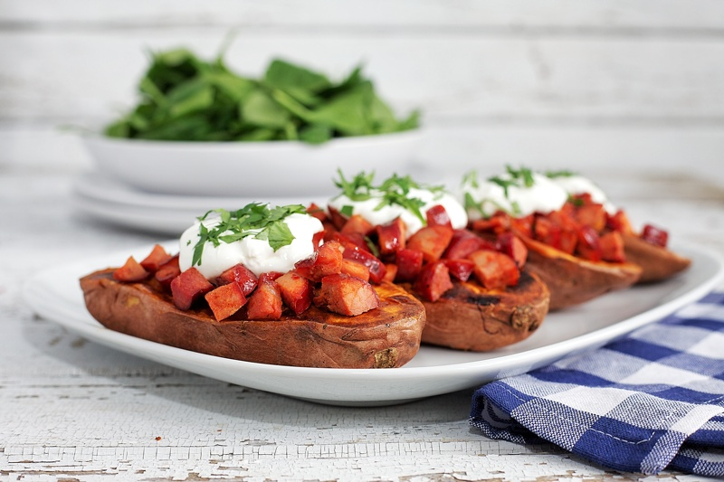 Sweet Potatoes with Chorizo and Sour Cream
