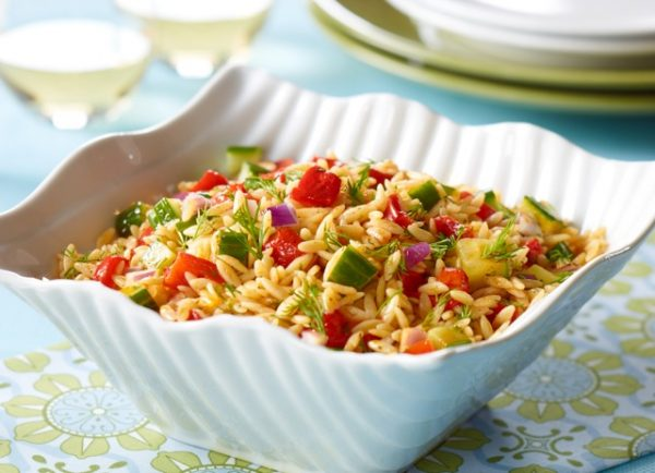 Orzo Salad with Roasted Ontario Greenhouse Peppers & Cucumbers