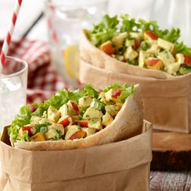 Curried Ontario Nectarine Chicken Salad pita