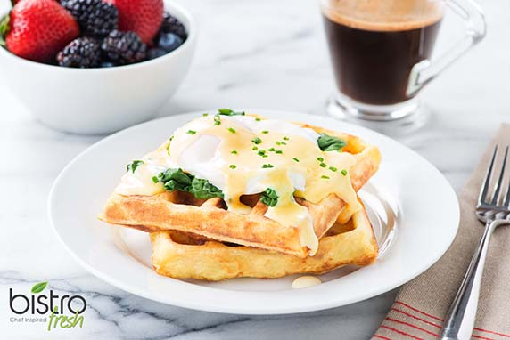 These light, melt-in-your-mouth waffles are made from mashed potatoes and are a fresh take on the classic eggs benedict. You could also just make the waffles and enjoy them on their own.