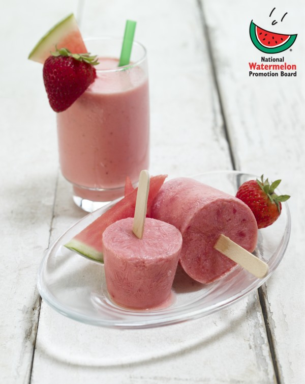 Watermelon Strawberry Shake and Frozen Smoothie Pops - Produce Made ...