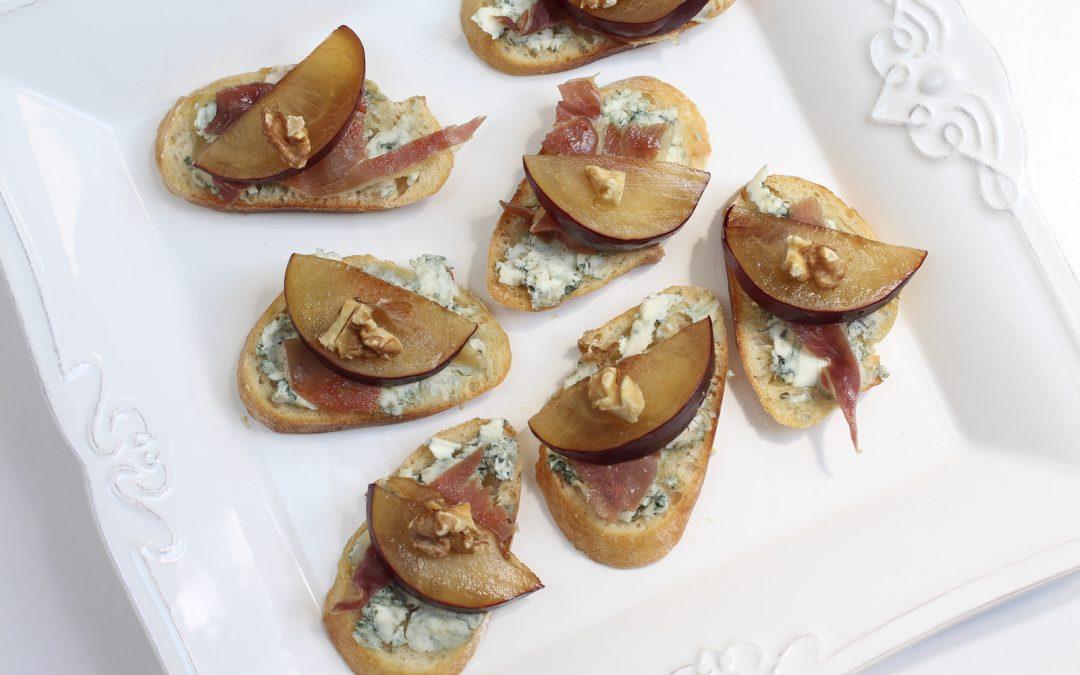 Plum Bruschetta with Blue Cheese