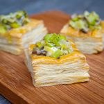 Creamy leek and mushroom vol au vents.