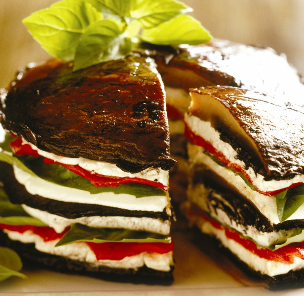 Grilled Portabello, Pepper, and Goat Cheese Stack
