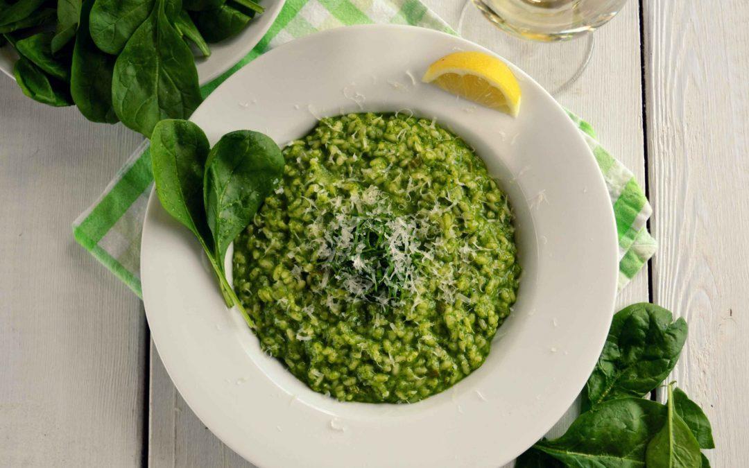 Cheesy Spinach Pesto Risotto