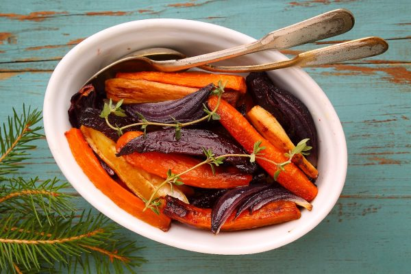 roasted vegetables: beets carrots onion celery root