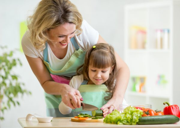 Cutting Veggies with Mother and Daughter