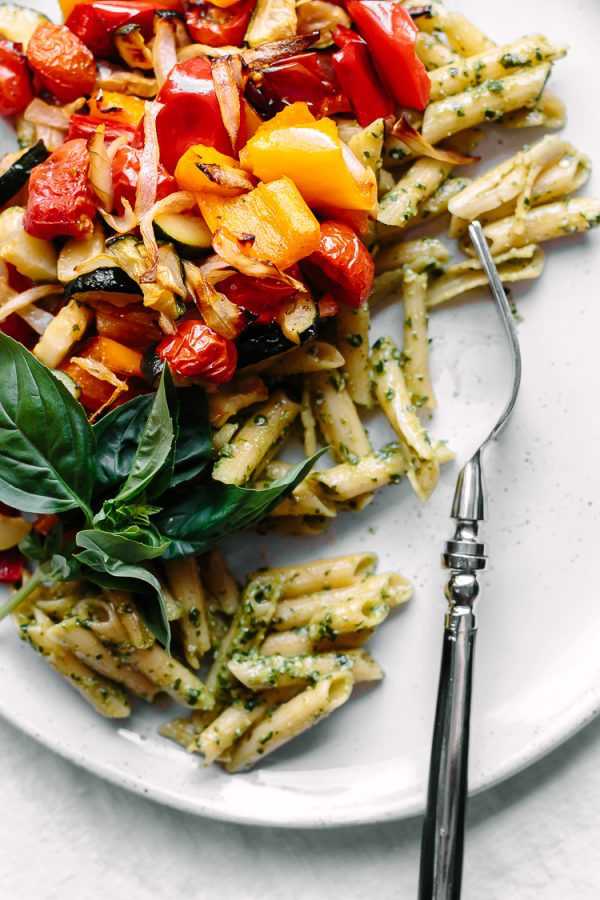 Basil Pesto Pasta with Roasted Veggies from Faring Well