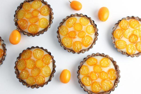 Kumquat and coconut cream tarts white