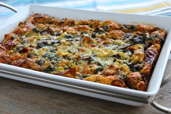 Spinach, Mushroom and Gruyere Strata