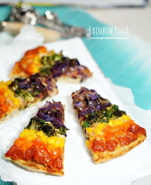 Rainbow Pizza from The Novice Gardener