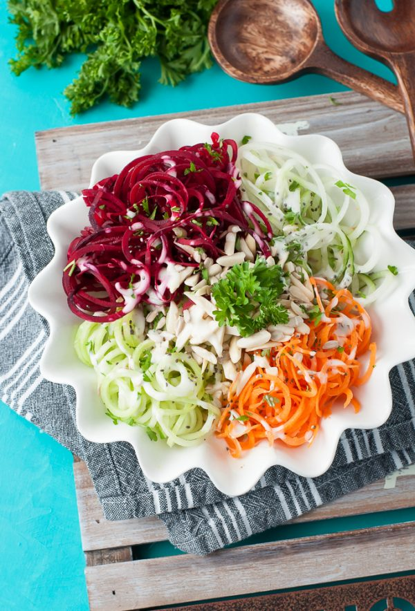 Rainbow Spiralized Veggie Salad from Peas & Crayons