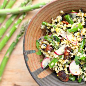 Roasted Asparagus and Bulgur Wheat Salad with Maple Olive Vinaigrette