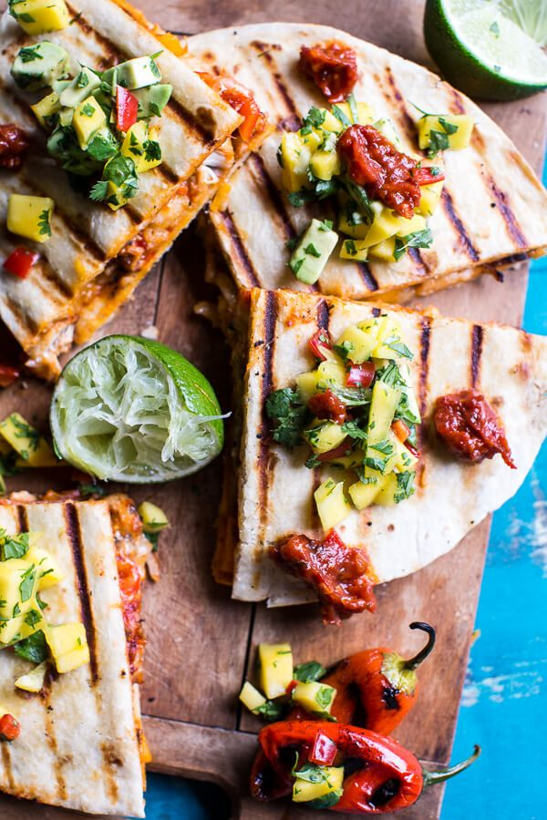 Fiesta-Chicken-Quesadillas-with-Chipotle-Relish-and-Mango-Salsa-4