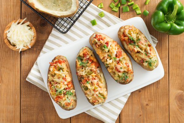 Chorizo Onion and Cheese Stuffed Potato Boats