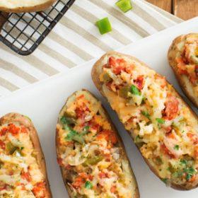 Chorizo Onion and Cheese Stuffed Potato Boats