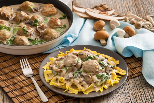Creamy Mushroom Turkey Meatballs with Egg Noodles