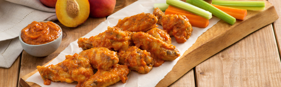 Grilled Chicken Wings with Peach Sriracha BBQ Sauce