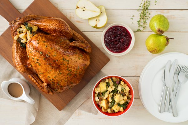 Herb and Pear Glazed Roast Turkey with Fig and Goat Cheese Stuffing