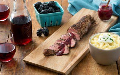 Pork Tenderloin with Apple Parsnip Purée and Blackberry Wine Sauce