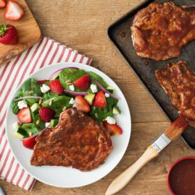 Roasted Strawberry Glazed Pork Chops with Strawberry Spinach Salad