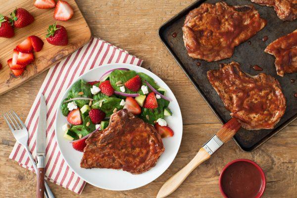 Roasted Strawberry Glazed Pork Chops with Strawberry Spinach Salad
