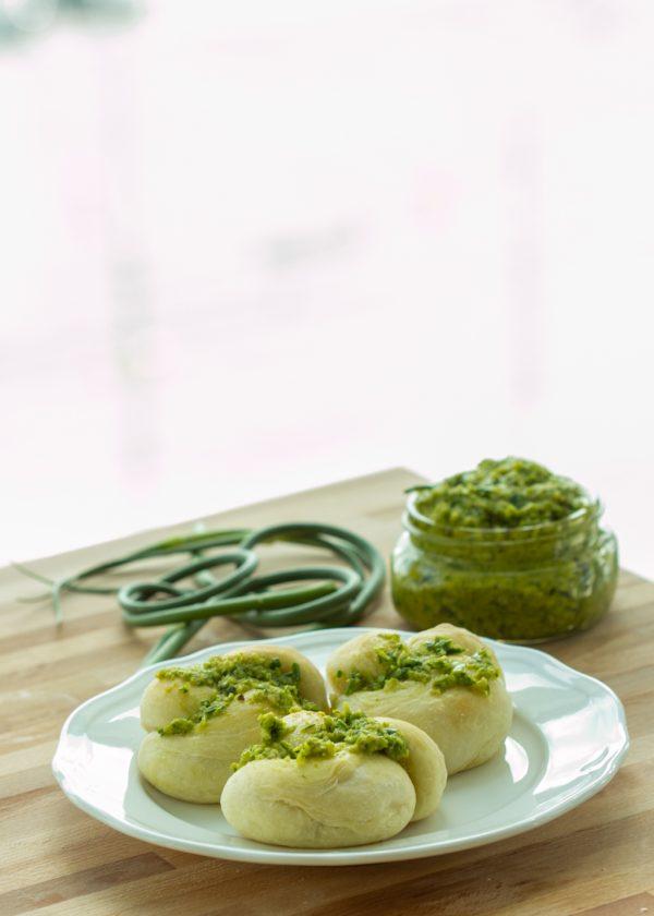 Garlic Scape Pesto Knots