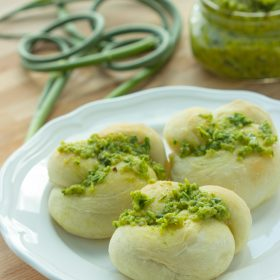 Garlic Scape Pesto Knots