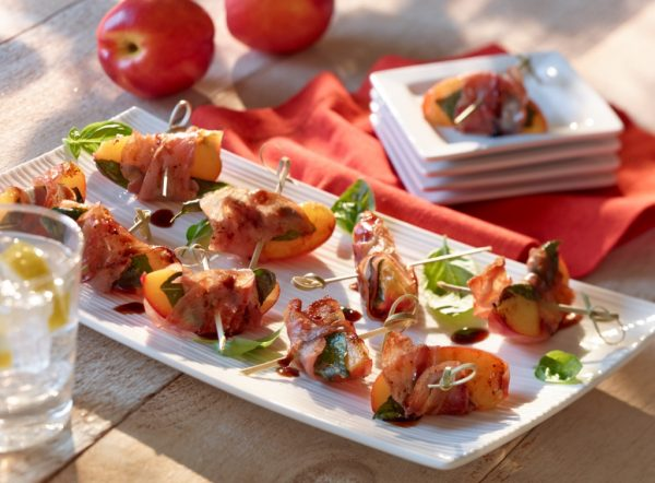 Pancetta Wrapped Ontario Nectarines with Basil