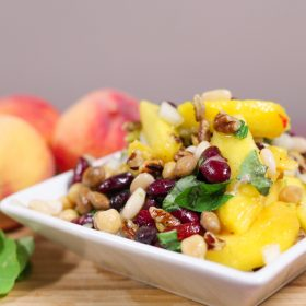 Peaches, Roasted Pecans and Bean Salad