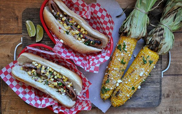 turkey-dogs-corn-relish-mexican-street-corn