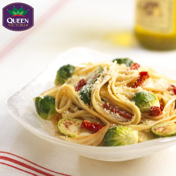 Linguini with Brussels Sprouts, Caramelized Onion, and Sundried Tomatoes