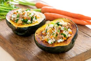 Sausage and Barley Stuffed Acorn Squash