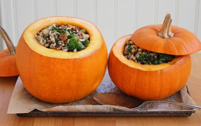 Roasted Pie Pumpkins with Wild Rice, Apple & Kale Stuffing