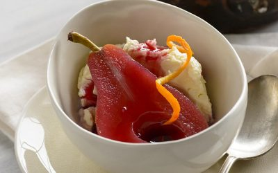 Tropical Hibiscus Poached Pears