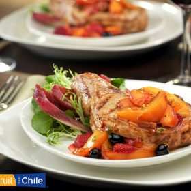 Grilled Pork Chops Stuffed with Chilean Nectarines