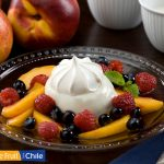 Matcha Green Tea Panna Cotta with Fresh Chilean Blueberry and Nectarine Compote