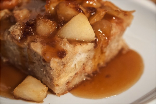 apple bread pudding dark brown sugar sauce tasty gardener