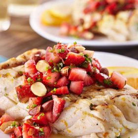 Citrus Halibut Strawberry Relish